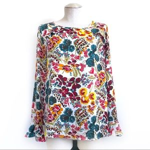 LOFT Floral Blouse with Flare Cuffs Size M